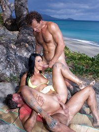 Tropical threesome on the beach